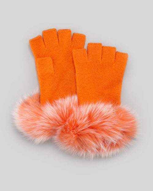 Sofia Cashmere Fur-Cuff Fingerless Cashmere Gloves