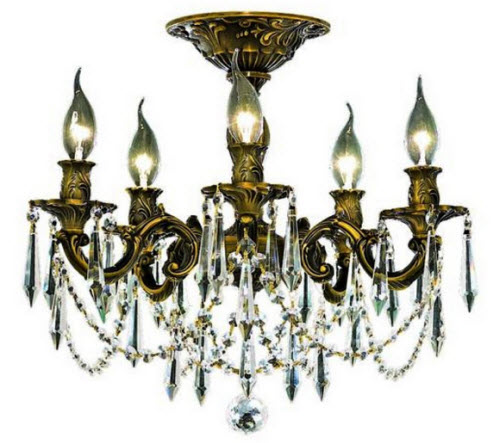 Antique bronze and crystal chandelier for Chandelier mural antique