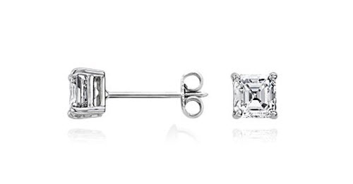Asscher Diamond Stud Earrings 3