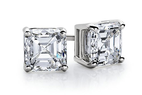 Asscher Diamond Stud Earrings