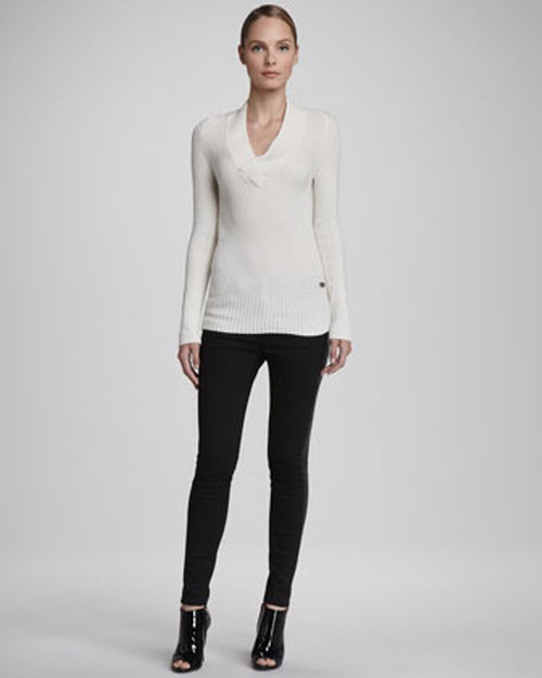 Burberry London Ribbed V-Neck Sweater & Lambskin Side Skinny Jeans