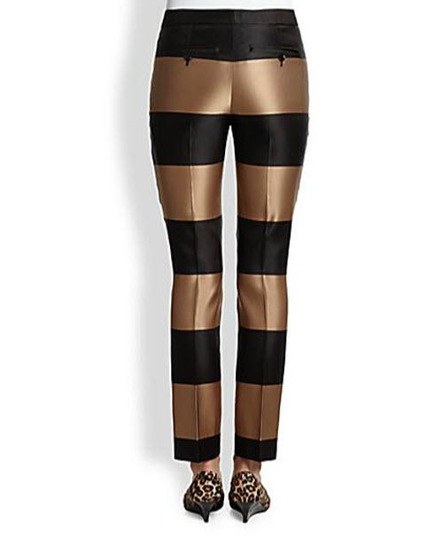Burberry Prorsum Silk Satin Metallic Striped Ankle Pants 2