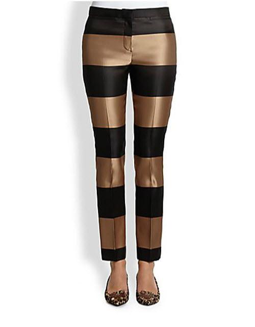 Burberry Prorsum Silk Satin Metallic Striped Ankle Pants