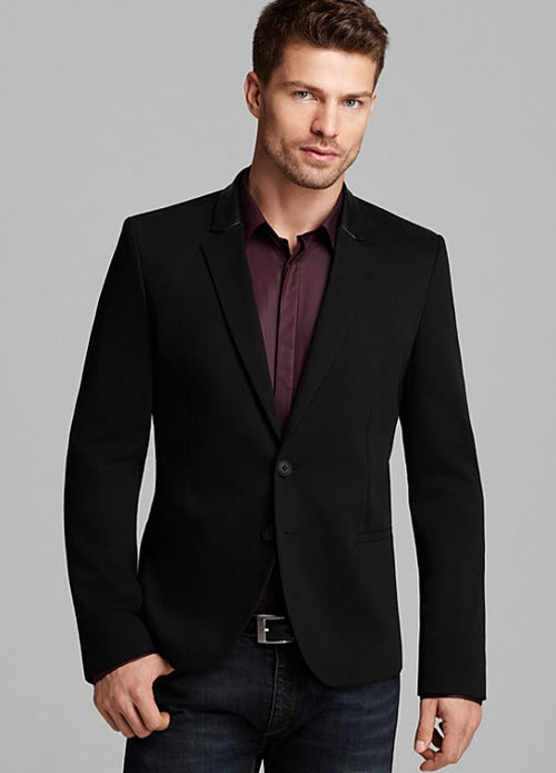 HUGO Allins Blazer with Leather Trim, Endrio Solid Sport Shirt & Slim Fit Jeans in Mid Blue 2