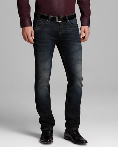 HUGO Allins Blazer with Leather Trim, Endrio Solid Sport Shirt & Slim Fit Jeans in Mid Blue 3