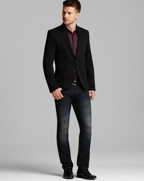 HUGO Allins Blazer with Leather Trim, Endrio Solid Sport Shirt & Slim Fit Jeans in Mid Blue