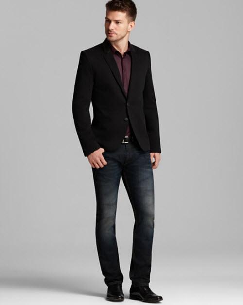 Hugo allins blazer with leather trim endrio solid sport shirt amp slim