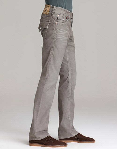 Men's True Religion Cords Ricky Straight Fit in Seal 2