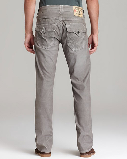 Men's True Religion Cords Ricky Straight Fit in Seal 3