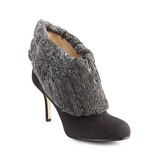 Oscar de la Renta Zarina Shearling-Trimmed Suede Ankle Boots