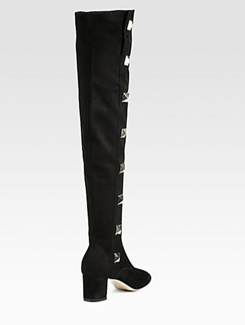 Valentino Studded Suede Over-The-Knee Boots 2