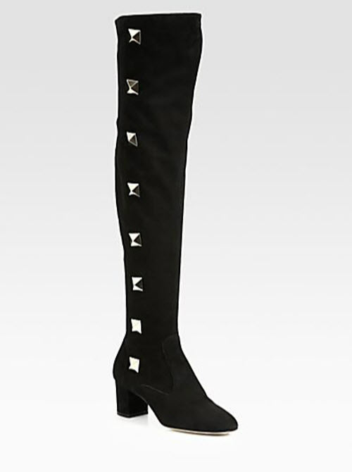 Valentino Studded Suede Over-The-Knee Boots