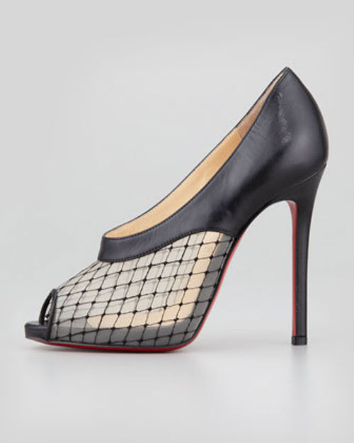 Christian Louboutin Resillana Lace-Net Peep-Toe Red-Sole Bootie 2