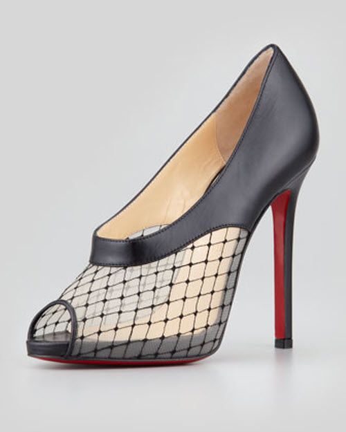 Christian Louboutin Resillana Lace-Net Peep-Toe Red-Sole Bootie