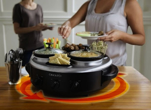 Crock-Pot Stainless Steel 1-Quart Triple Dipper Food Warmer with Portable Lid 3