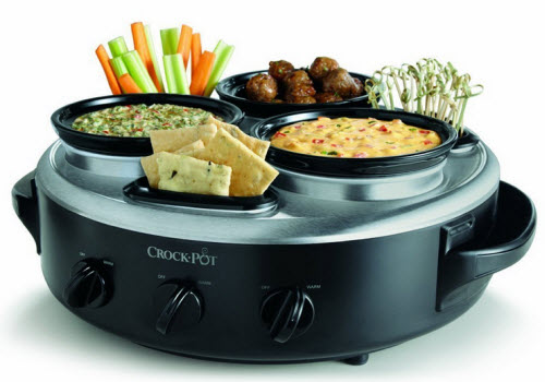 Crock-Pot Stainless Steel 1-Quart Triple Dipper Food Warmer with Portable Lid