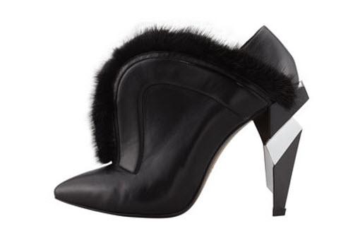 Fendi V-Neck Fur Ankle Boot 4