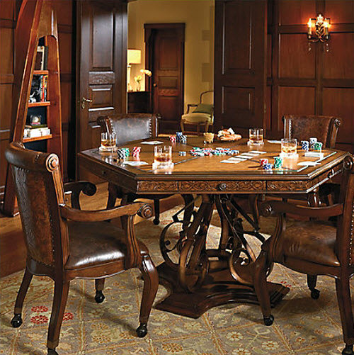 Frontgate saratoga game table and chairs for Dining room game table