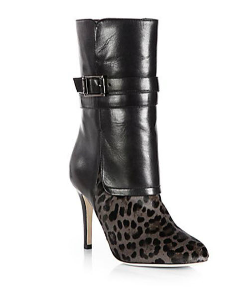 Jimmy Choo Ballad Leopard-Print Pony Hair & Leather Mid-Calf Boots