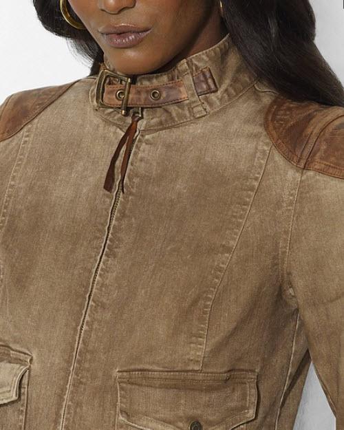 Lauren Ralph Lauren Leather-Trimmed Denim Jacket 2