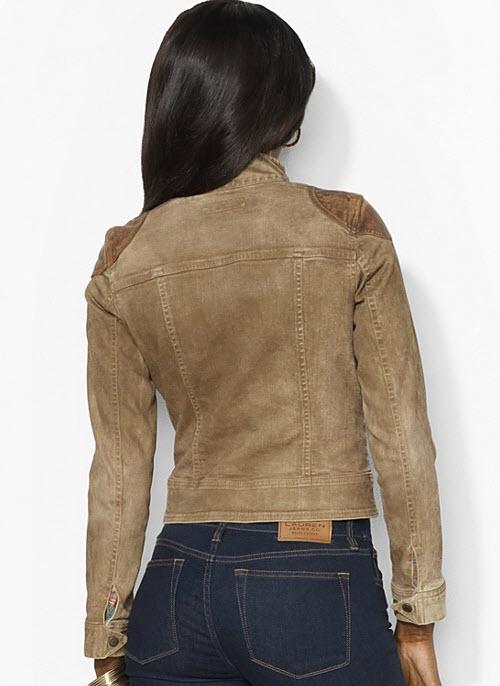 Lauren Ralph Lauren Leather-Trimmed Denim Jacket 3
