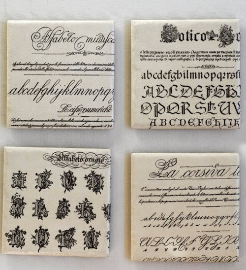 Typography Coasters with Vintage Fonts Mix & Match set of 4 2