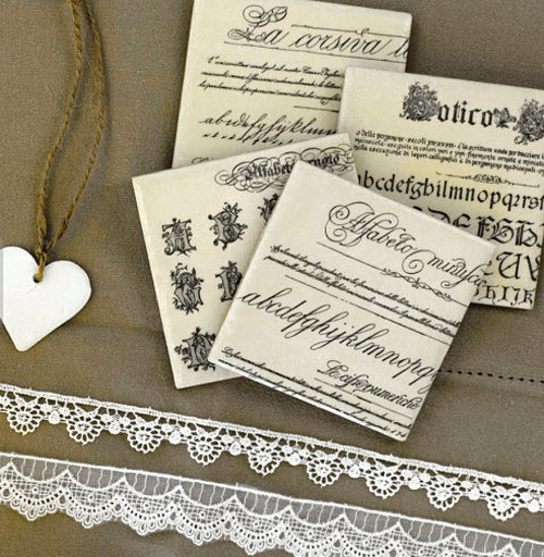 Typography Coasters with Vintage Fonts Mix & Match set of 4 3