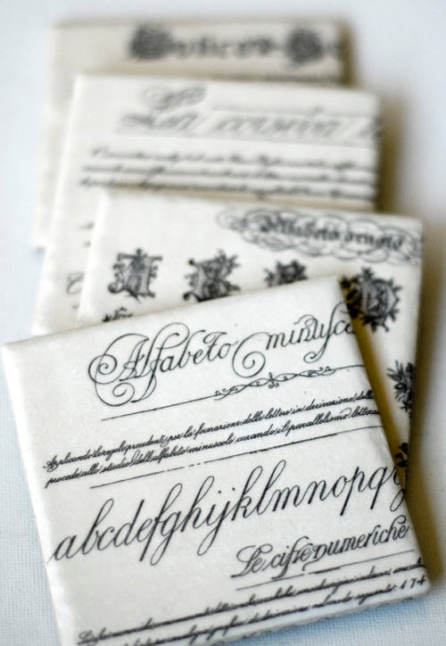 Typography Coasters with Vintage Fonts Mix & Match set of 4