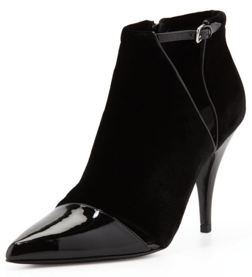3.1 Phillip Lim Quill Velvet & Patent Pointy-Toe Bootie