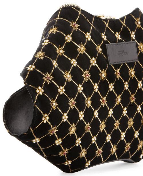Alexander McQueen De-Manta Velvet Embroidered Clutch Bag 3