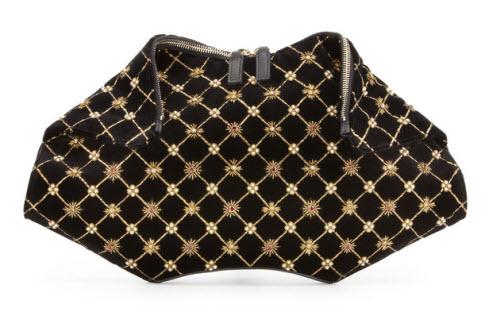 Alexander McQueen De-Manta Velvet Embroidered Clutch Bag