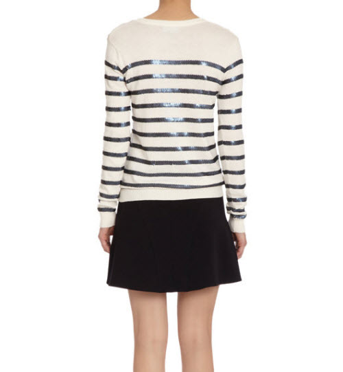Barneys New York Sequin Striped Crewneck Sweater 2