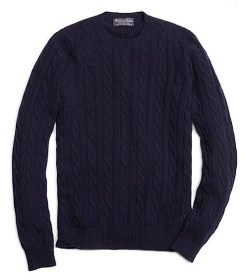 Brooks Brothers Cashmere Cable Crewneck Sweater 3