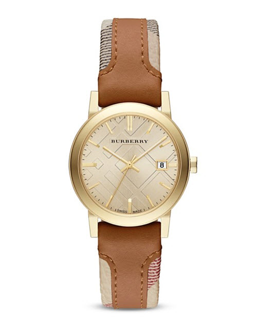 Burberry The City Haymarket Check & Leather Strap Watch