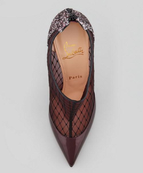 Christian Louboutin Fillette Patent Mesh Glitter-Heel Bootie 3