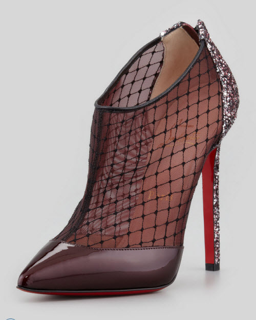 Christian Louboutin Fillette Patent Mesh Glitter-Heel Bootie