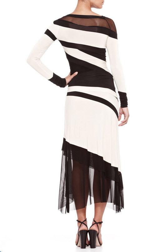 Donna Karan Bicolor Banded Mesh-Panel Top and Mesh-Bottom Skirt 2