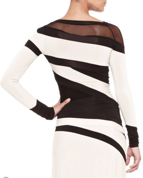 Donna Karan Bicolor Banded Mesh-Panel Top and Mesh-Bottom Skirt 3