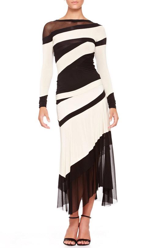 Donna Karan Bicolor Banded Mesh-Panel Top and Mesh-Bottom Skirt