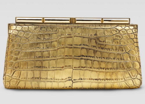 Judith Leiber Aurelie Croc Clutch Bag