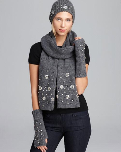 Kate Spade New York Snowed In hat scarf gloves