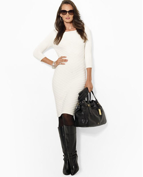 Lauren Ralph Lauren Three Quarter Sleeve Sweater Sheath Dress