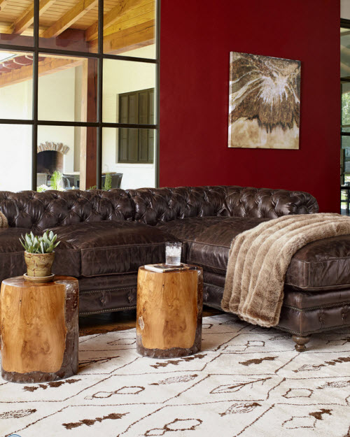 Leather Tufted Warner Sectional Sofa 2