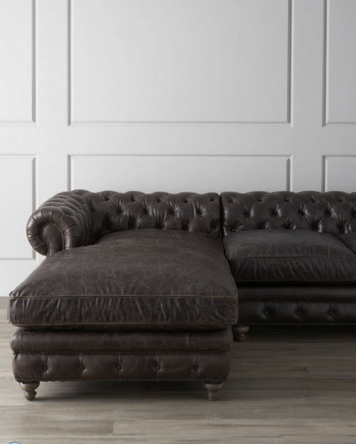 Leather Tufted Warner Sectional Sofa 3