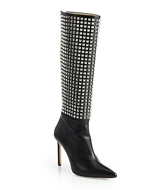 Manolo Blahnik Digastudmod Studded Leather Boots