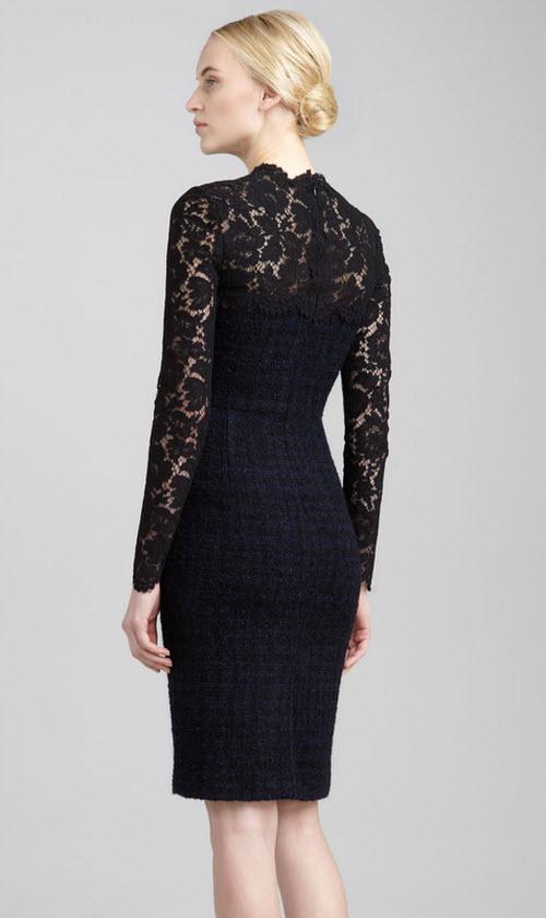 Valentino Lace-Yoke Tweed Boucle Dress 2