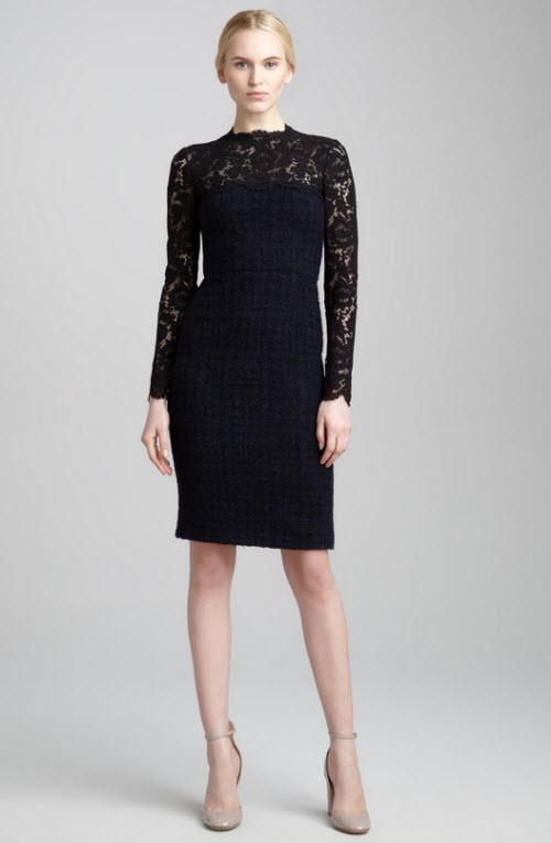Valentino Lace-Yoke Tweed Boucle Dress