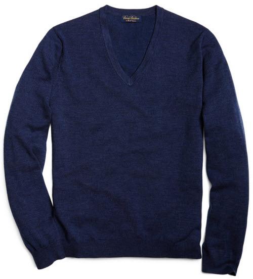 Brooks Brothers Saxxon Wool V-Neck Sweater 3