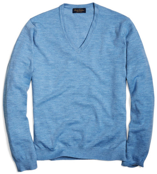 Brooks Brothers Saxxon Wool V-Neck Sweater 4