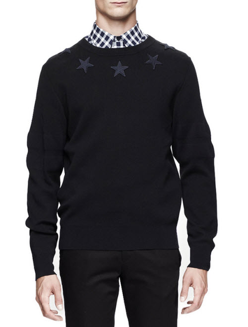Givenchy Men's Star-Trim Pullover Sweater
